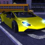 汽车驾驶模拟器的运动车停车夜晚的城市 1.01