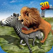 野生非洲狮辛3D - 真正的野生动物园国王狩猎鹿雪山冬季 1