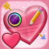情人节 图片上的文字 - 添加标题到照片 和 写爱情引文 与