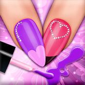 指甲彩绘女孩游戏: 美甲化妆美甲和沙龙时尚潮女孩