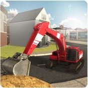 沙挖掘机起重机模拟器3D - 争取起重机操作员与驱动装载机