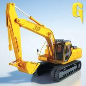 沙挖掘机 - 重型挖掘机机械建机起重机自卸车装载的3D模拟