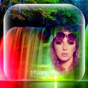 自然 瀑布 相框 照片编辑软件 和 美丽 景观 照片蒙太奇 对