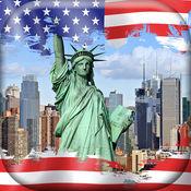 美国壁纸 -  纽约 城市背景 和 美国国旗 图片锁屏 1