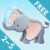 2-5岁儿童关于野生动物园的动物:狮子,大象,鳄鱼,河马,猴子,老虎