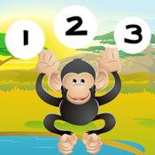 123活动: 儿童游戏有关的野生动物园的动物 学习计数 1