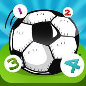 123儿童游戏关于足球:学会数数1-10幼儿园,学前班或幼儿园。