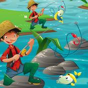 活动! 大小的游戏让孩子们学习和钓鱼和打的鱼 1