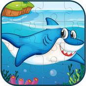 海洋动物拼图游戏的孩子和成人 1