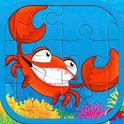 海海洋动物拼图益智游戏的孩子