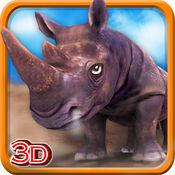 3D犀牛模拟器 - 野生动物模拟器和模拟游戏破坏城市 1