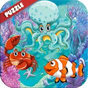 海洋动物拼图词汇和字母表ABC 1