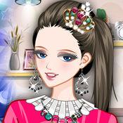 紫色的天空: 灰姑娘化妆。扮靓童话公主与时尚的衣服。 1.1