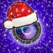 圣诞 照片 贴纸 在 冬季 仙境 相机 蓬松 和 新年 装饰 形