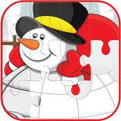 圣诞节和雪人拼图游戏的孩子 1