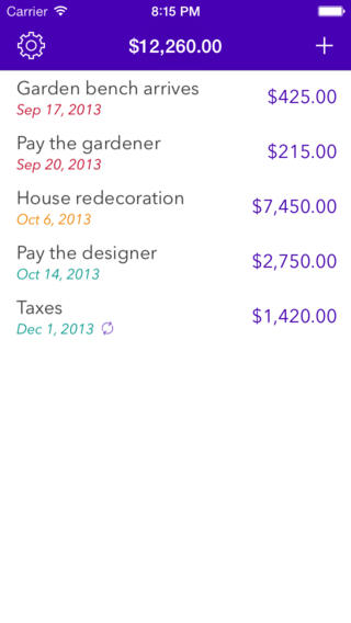 Expenses Planner - Reminders for upcoming payments