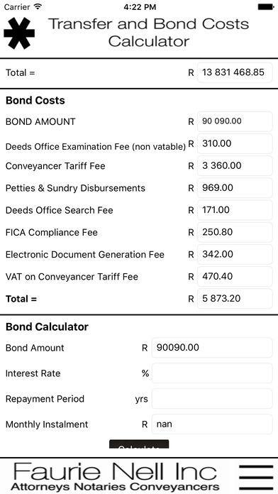 FNINC Cost Calculator