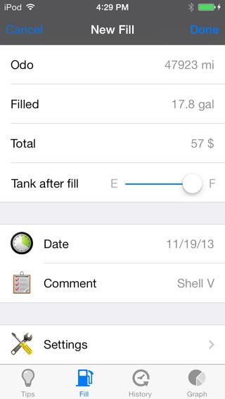 Fuel Saver LITE tips + log + chart