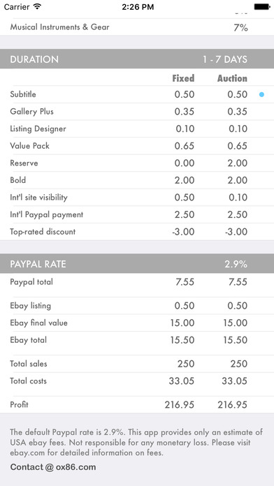 Fees Calculator for Ebay and PayPal