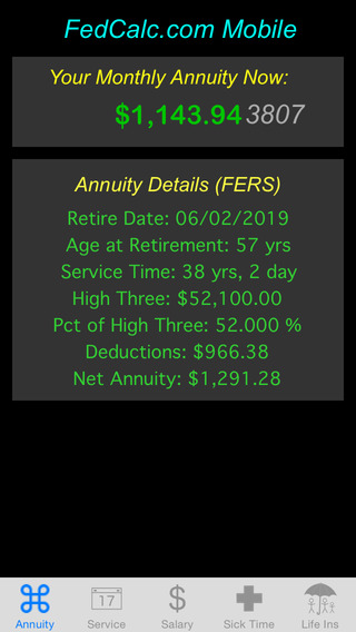 FedCalc FERS and CSRS Annuity Calculator