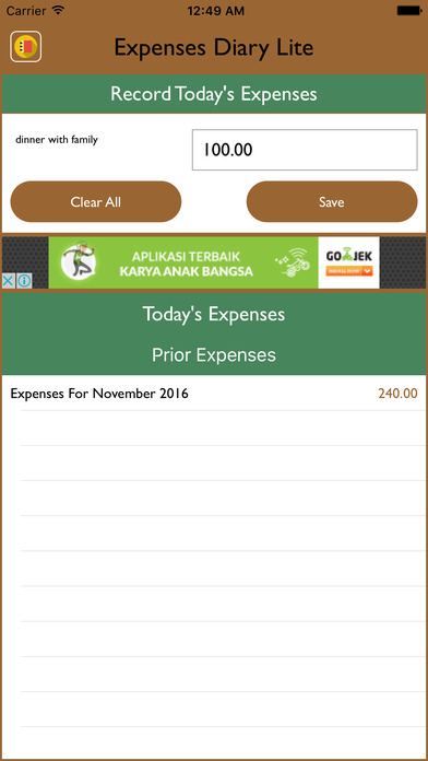 Expenses Diary Lite