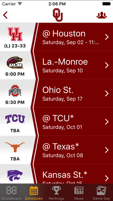 Big 12 Football Schedules  Scores