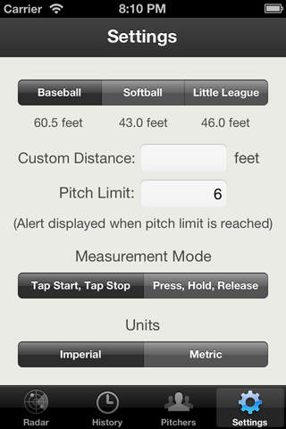 Baseball Pitch Radar Gun