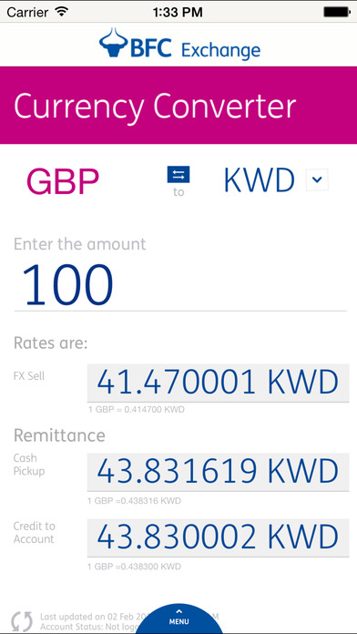 BFC Exchange Currency Converter