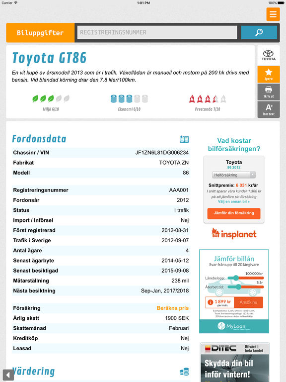 Biluppgifter
