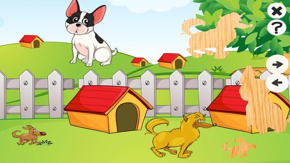 动物,狗和可爱的小狗拼图婴儿和儿童:现货的影子