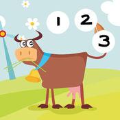 活动! 儿童游戏与农场的动物: 了解 数数字1-10 1