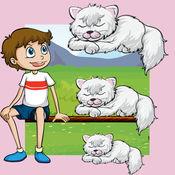 动画猫排序游戏对于婴儿及童装:颜色-ING图书和阴影拼图小猫
