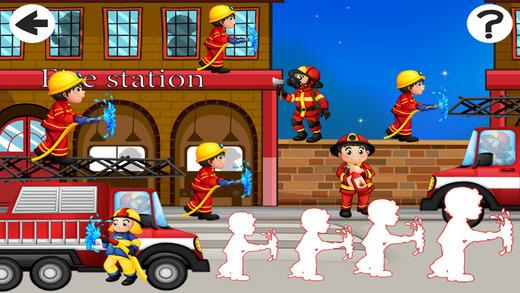 活动! 大小游戏的孩子学习和玩消防队员