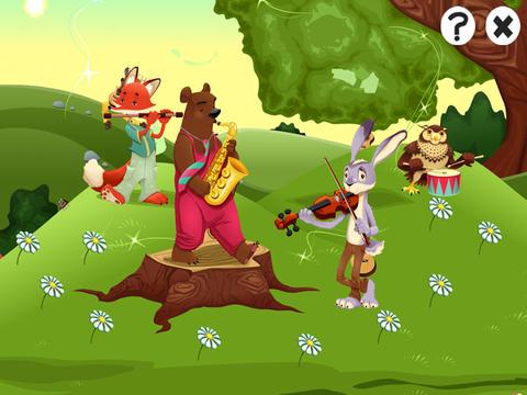 儿童游戏有关森林与音乐的动物.与狐狸