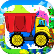 Construction Trucks Coloring Drawing for Kids Game