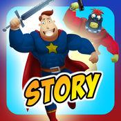创建自己的交互式操作超级英雄和超级恶棍的故事书广告免费