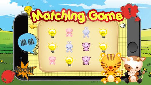 Animals matching game for kids preschool doodle