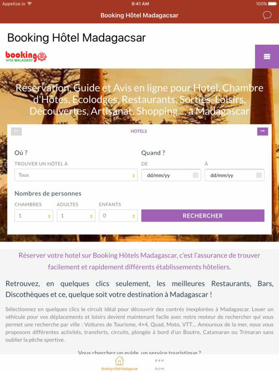 Booking Hôtel Madagascar