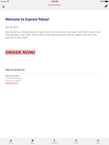 Express Po-boy Online Ordering