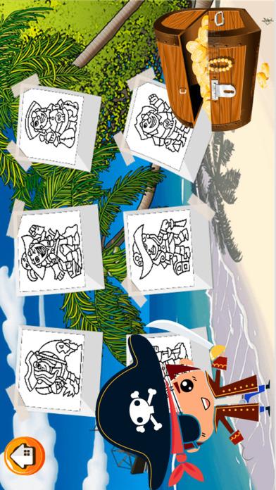 海盗男孩图画书 - 所有在1冒险和珍宝填色画,涂料和颜料游戏高清对于儿童