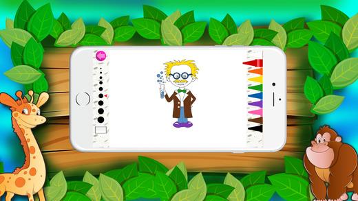 免费彩色书(职业),着色页和有趣的教育学习游戏的孩子!