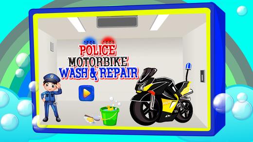 警察摩托车洗涤和修理 - 摩托车清洁