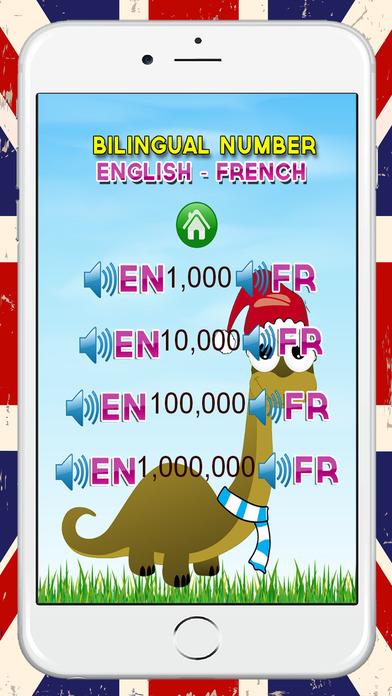 學習英語到法語號1至100個免費:雙語幼兒園和學齡前兒童