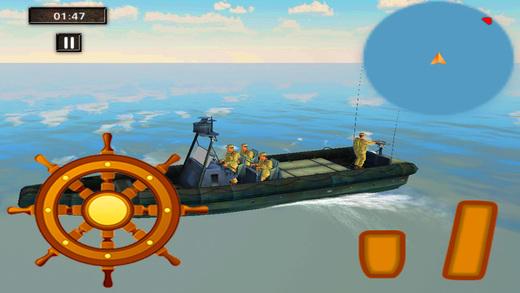 军事船海边界 - 船航行游戏sim