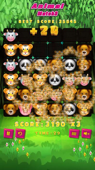 动物匹配3拼图游戏的孩子们