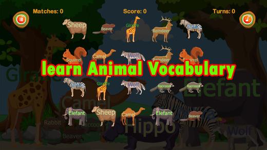 動物:英語詞彙學習,記憶遊戲,配对游戏