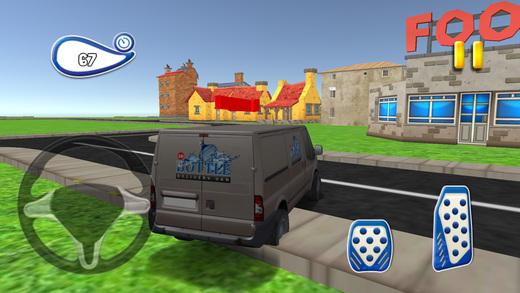 3D瓶交货van-真正的停车模拟器