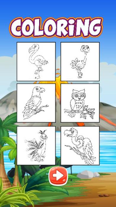 鸟着色页的书游戏为孩子