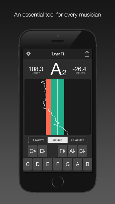 Tuner T1 – 可对任何一种乐器进行调音(吉他,乌克丽丽,小提琴,中提琴,贝斯,和大提琴等等)。