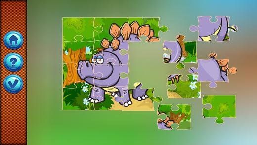 孩子们学习游戏恐龙拼图游戏
